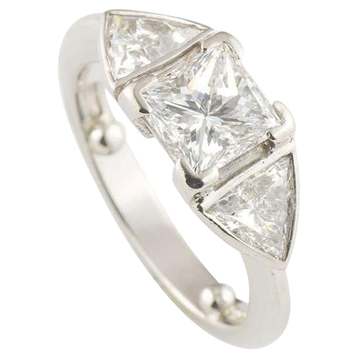 GIA Certified Princess Cut Diamond Ring 1.07 Carat D/VS2