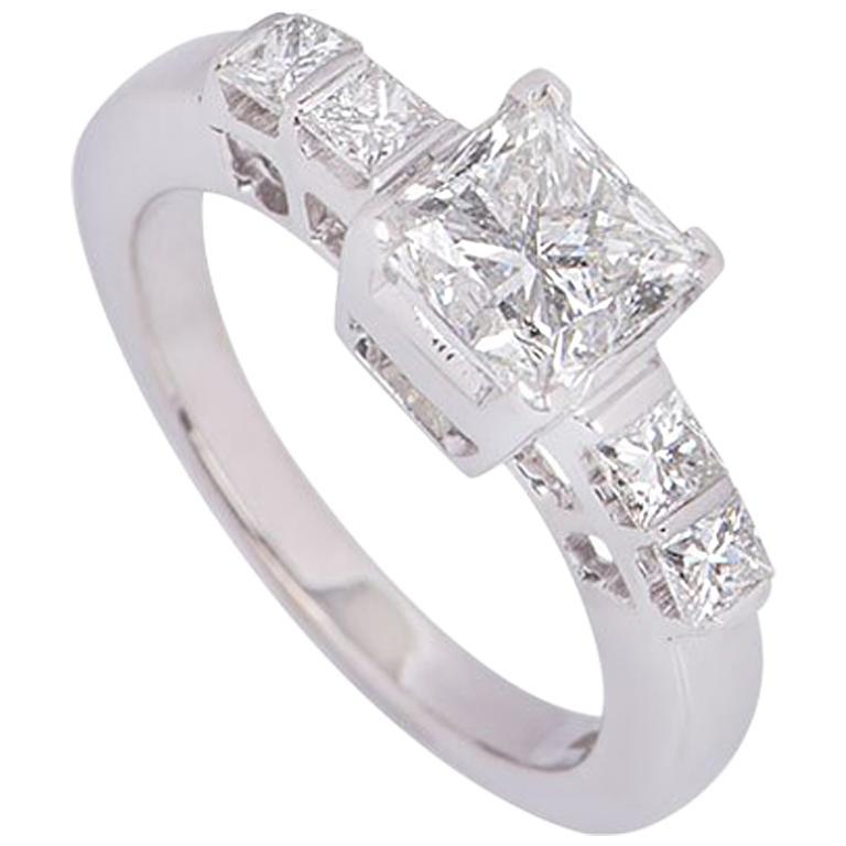 GIA Certified Princess Cut Diamond Ring 1.15 Carat I VVS1 For Sale
