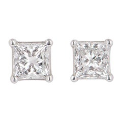 GIA Certified Princess Cut Diamond Stud Earrings Total Carats 1.42 F Color/VS1