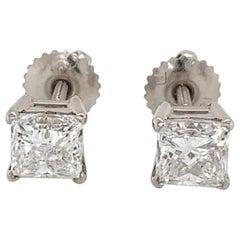GIA Certified Princess Cut Diamond Studs