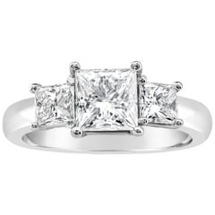 Roman Malakov GIA Certified Princess Cut Diamond Three-Stone Engagement Ring