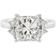 Roman Malakov, GIA Certified Princess Cut Diamond Three-Stone Engagement Ring