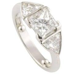 GIA Certified Princess Cut Three-Stone Diamond Engagement Ring 1.07 Carat