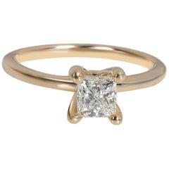 GIA Certified Princess Diamond Ring in 14 Karat Yellow Gold J I1 0.63 Carat