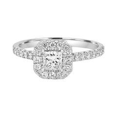 GIA Certified Princess Diamond Halo 0.93 Carat White Gold Engagement Bridal Ring