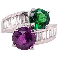 GIA Certified Purple Pink Sapphire Tsavorite Diamond Cocktail Ring in Platinum