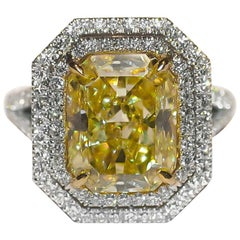 GIA Certified Radiant 5.17 Carat Fancy Yellow Diamond Ring