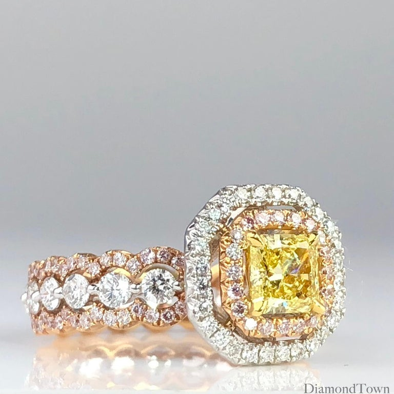 GIA Certified Radiant Cut 0.63 Carat Natural Fancy Intense Yellow Halo Ring In New Condition For Sale In New York, NY