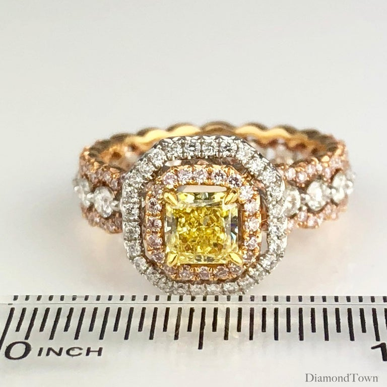 GIA Certified Radiant Cut 0.63 Carat Natural Fancy Intense Yellow Halo Ring For Sale 1