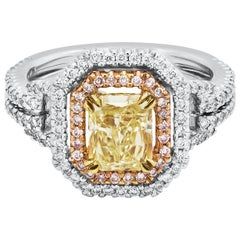 GIA Certified Radiant Cut Diamond Double Halo Engagement Ring