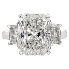 Roman Malakov Radiant Cut Diamond Platinum Three-Stone Engagement Ring