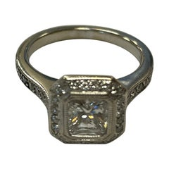 GIA Certified Radiant Cut Diamond Set in 18 Karat White Gold Halo Mounting