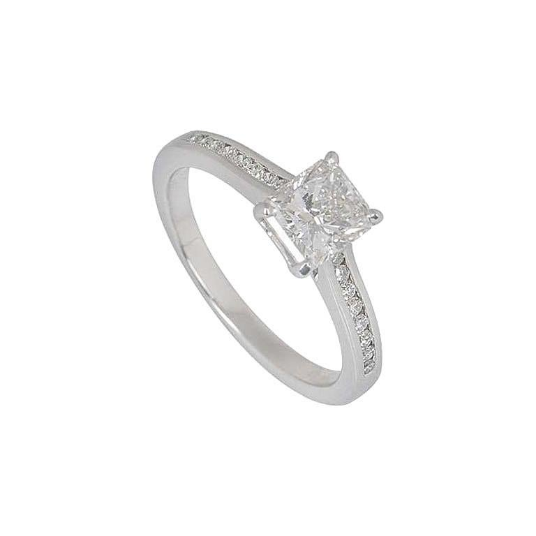 GIA Certified Radiant Cut Diamond Solitaire Engagement Ring 1.01 Carat