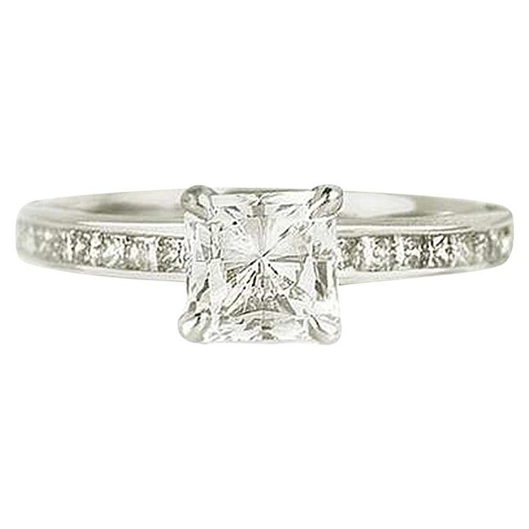 GIA Certified Radiant Cut Diamond Solitaire Engagement Ring 1.10 Carat D/VVS2 For Sale