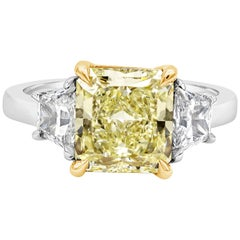 Roman Malakov GIA Certified Radiant Cut Diamond Three-Stone Engagement Ring