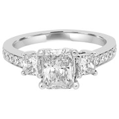 GIA Certified Radiant Cut Diamond Three-Stone Gold Bridal Engagement Ring