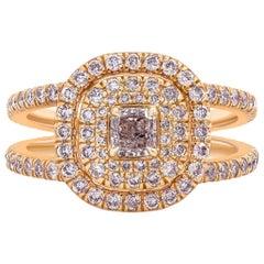 GIA Certified Radiant Cut Purplish Pink Diamond Double Halo Engagement Ring