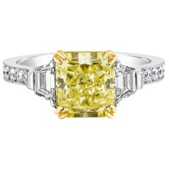 GIA Certified Radiant Cut Yellow Diamond Three-Stone Engagement Ring