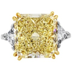 Roman Malakov Radiant Cut Yellow Diamond Three-Stone Engagement Ring