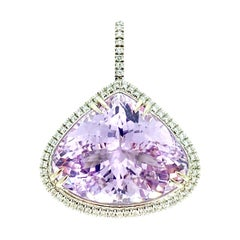 GIA Certified Rare 60 Carat Heart Brilliant Purple-Pink Kunzite Diamond Pendant