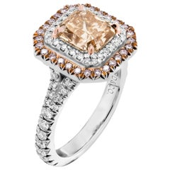 GIA Certified Ring with 2.07 Carat Fancy Brown Orange VS2 Cushion Diamond