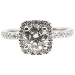 GIA Certified Round Brilliant 1.03 Carat H SI2 14 Karat Diamond Halo Ring