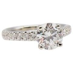 GIA Certified Round Brilliant 1.34 Carat F SI2 14 Karat White Gold Diamond Ring