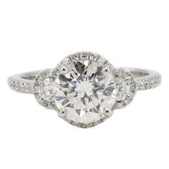 GIA Certified Round Brilliant 1.80 Carat I SI2 Platinum Diamond Engagement Ring