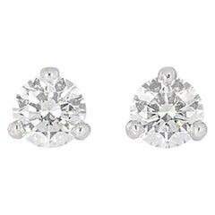 GIA Certified Round Brilliant Cut Diamond Earrings 1.07 Carat