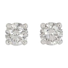 GIA Certified Round Brilliant Cut Diamond Earrings 1.18ct Total Diamond Weight