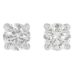 GIA Certified Round Brilliant Cut Diamond Earrings 1.20 Carat
