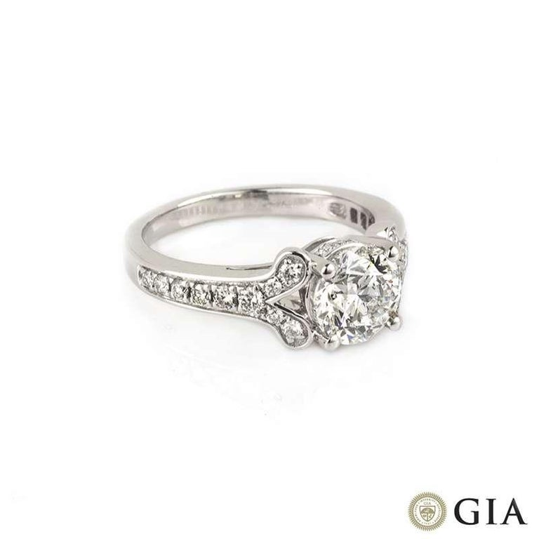 Round Cut GIA Certified Round Brilliant Cut Diamond Engagement Ring 1.50 Carat F Color For Sale