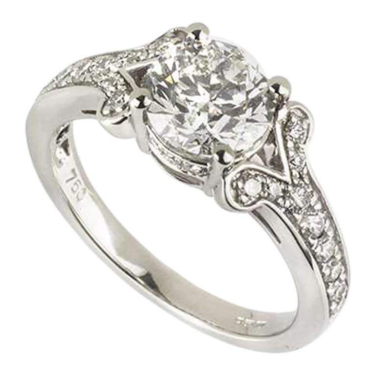 GIA Certified Round Brilliant Cut Diamond Engagement Ring 1.50 Carat F Color For Sale