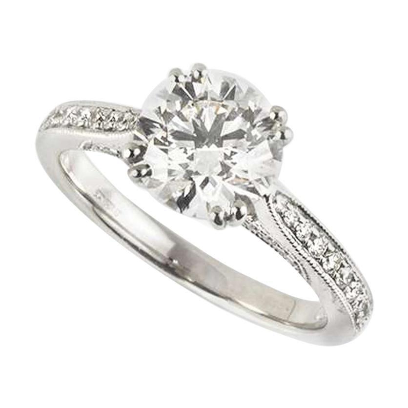 GIA Certified Round Brilliant Cut Diamond Engagement Ring 1.70 Carat F/VS1