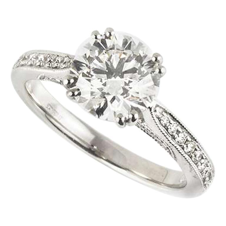 GIA Certified Round Brilliant Cut Diamond Ring 1.70 Carat F Color