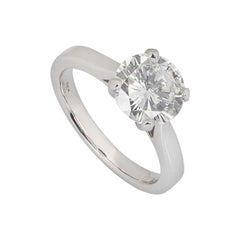 GIA Certified Round Brilliant Cut Diamond Solitaire Engagement Ring 2.08 Carat