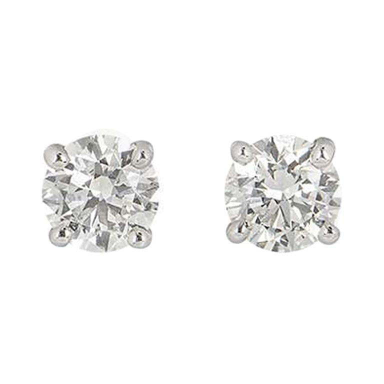 GIA Certified Round Brilliant Cut Diamond Stud Earrings 1.49 Carat