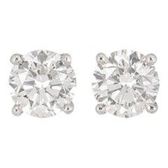 GIA Certified Round Brilliant Cut Diamond Stud Earrings 1.60 Carat