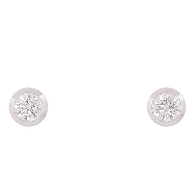 GIA Certified Round Brilliant Cut Diamond Stud Earrings For Sale