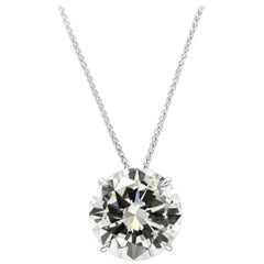 GIA Certified Round Brilliant Diamond Solitaire Pendant Necklace
