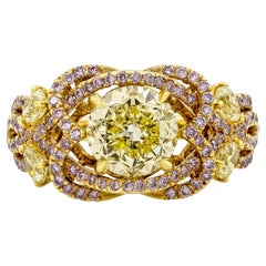 GIA Certified Round Cut Intense Yellow and Pink Diamond Engagement Ring