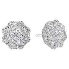 GIA Certified Round Diamond Cluster Stud Earrings