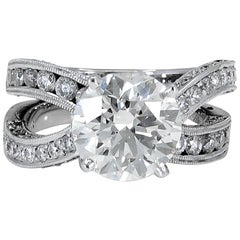 GIA Certified Round Diamond Engagement Ring