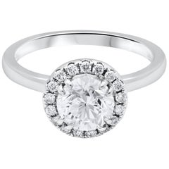 GIA Certified Round Diamond Halo Engagement Ring