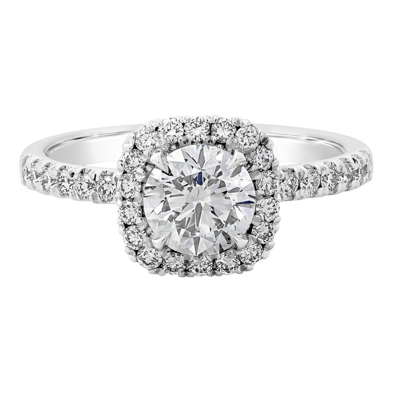 GIA Certified Round Diamond Halo Engagement Ring For Sale