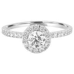 GIA Certified Round Diamond Halo Gold Platinum Engagement Bridal Ring