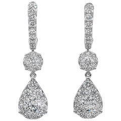 GIA Certified Round Diamond Pear-Shaped Dangle Earrings