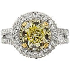 GIA Certified Round Yellow Diamond Halo Vintage-Style Engagement Ring