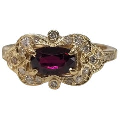 GIA Certified Ruby 14 Karat Art Deco Style Ruby and Diamond Ring