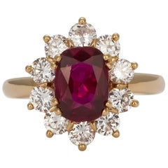 GIA Certified Ruby and Diamond Ring 18 Karat Yellow Gold French Mounting